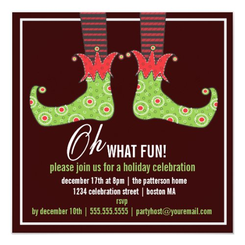 Oh what fun Jolly Elf Holiday Party Invitation