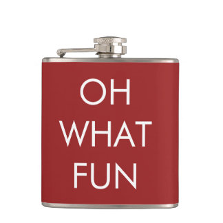 OH What Fun Red Christmas Flask