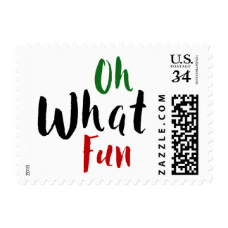 Oh What Fun, Red Green Black Typography, Christmas Postage