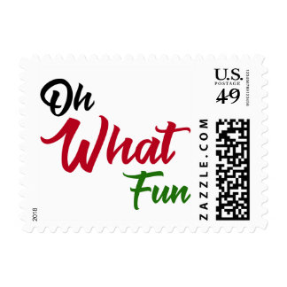 Oh What Fun, Red, Green & Black Typography Postage