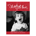 Oh What Fun Scripty Holiday Photo Card - Red