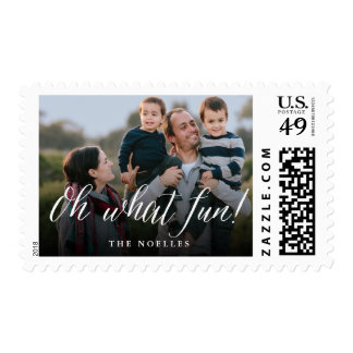 Oh What Fun! Simple Script Holiday Photo Stamps