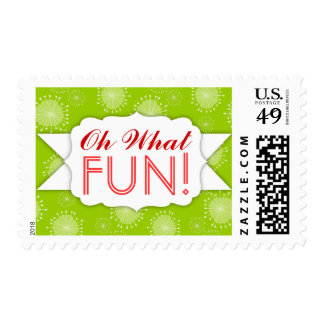 """""""Oh What FUN"""" Whimsical Snowflakes Holiday Postage"""