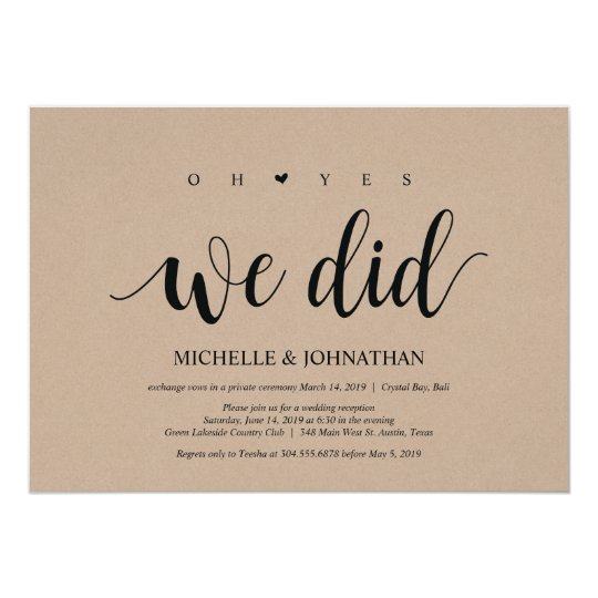 Oh Yes We Did Wedding Elopement Invitation Cards