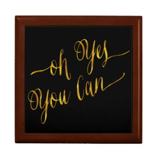 Oh Yes You Can Quote Gold Faux Foil Courage Gift Box