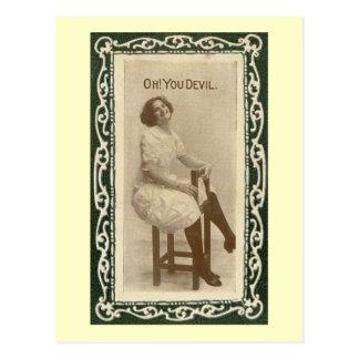 Oh! You Devil Woman Romance Vintage Post Cards