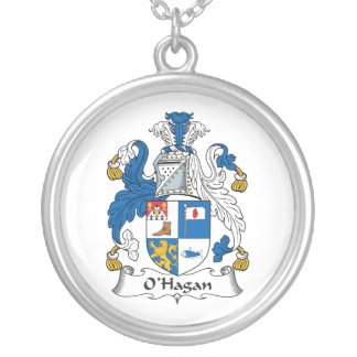 O'Hagan Family Crest Round Pendant Necklace