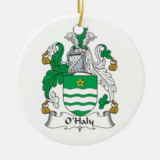 O'Haly Family Crest Double-Sided Ceramic Round Christmas Ornament