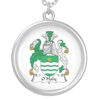 O'Haly Family Crest Round Pendant Necklace