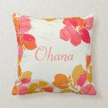 Ohana Hawaiian Family Hibiscus Throw Pillow