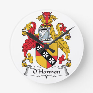 O'Hannon Family Crest Round Wall Clock