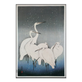 Ohara Koson's Vintage Egrets in the Snow Poster