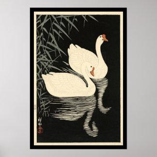 Ohara Koson's Vintage Swans Poster