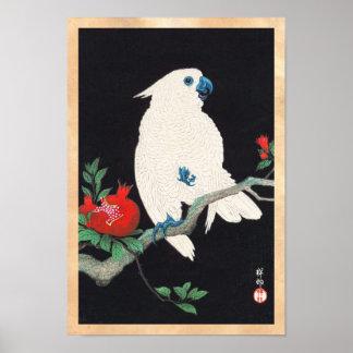 Ohara Shoson, Cockatoo and Pomegranate ukiyo-e Poster