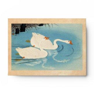 Ohara Shoson Two Sweeming Geese japanese art Envelope