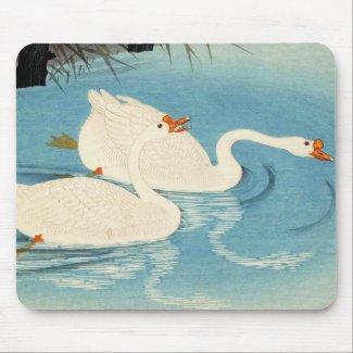 Ohara Shoson Two Sweeming Geese japanese art Mousepads