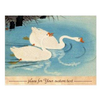 Ohara Shoson Two Sweeming Geese japanese art Postcard