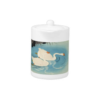 Ohara Shoson Two Sweeming Geese japanese art Teapot