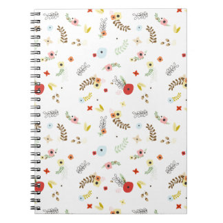 Ohbabybaby floral pattern background leaves flower spiral note book