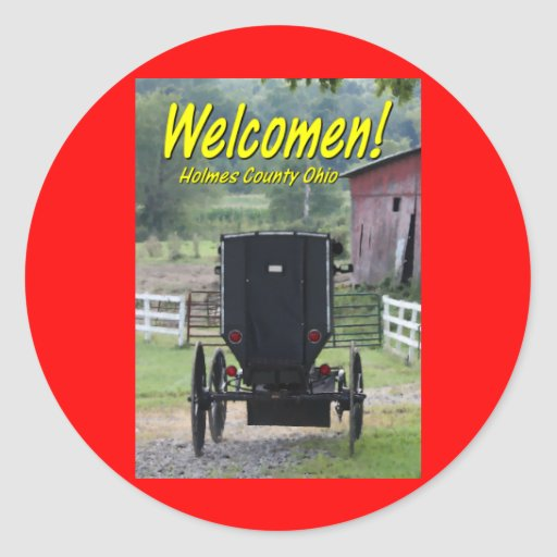 OHCA101.Amish Buggie - Holmes Co OH. Classic Round Sticker