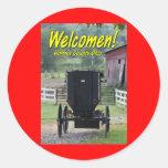 OHCA101.Amish Buggie - Holmes Co OH. Etiqueta Redonda
