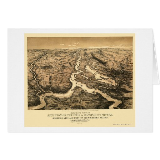 Ohio and Mississippi River Map 1861 Greeting Card