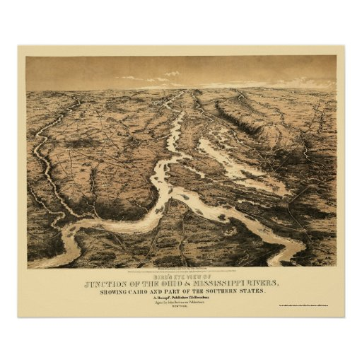 Ohio and Mississippi River Map 1861 Print