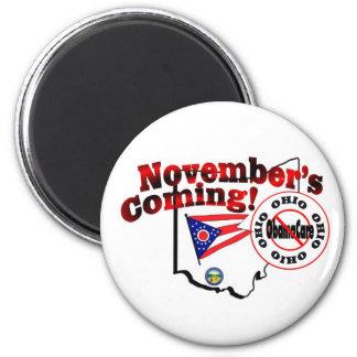 Ohio Anti ObamaCare – November's Coming! 2 Inch Round Magnet