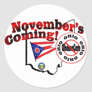 Ohio Anti ObamaCare – November's Coming! Classic Round Sticker