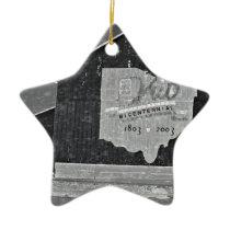 Ohio Barn In Winter Ceramic Ornament