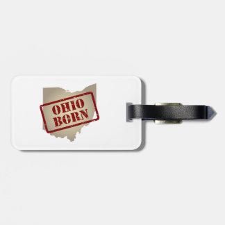 Ohio Born - Stamp on Map Bag Tag