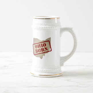 Ohio Born - Stamp on Map Beer Stein