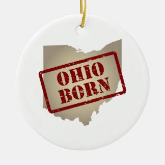 Ohio Born - Stamp on Map Double-Sided Ceramic Round Christmas Ornament