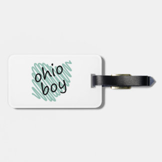 Ohio Boy on Child's Ohio Map Drawing Tag For Luggage