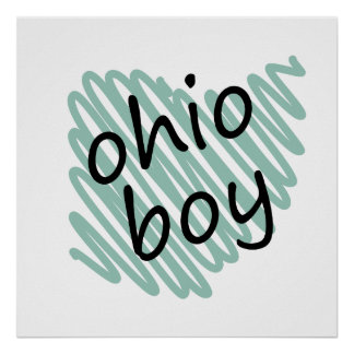 Ohio Boy on Child's Ohio Map Drawing Posters