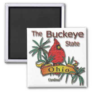 Ohio Buckeye Cardinal 2 Inch Square Magnet