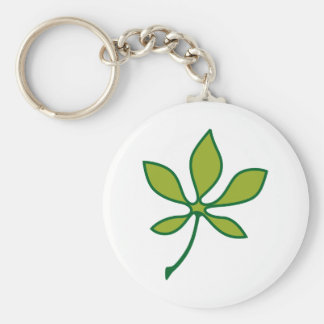 Ohio Buckeye Leaf Basic Round Button Keychain