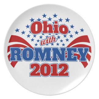 Ohio con Romney 2012 Platos De Comidas
