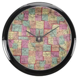 Ohio Counties Aqua Clock