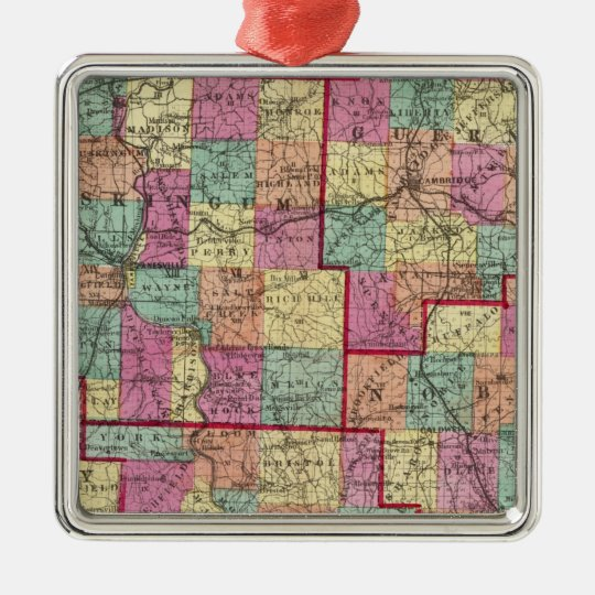 Ohio Counties Metal Ornament