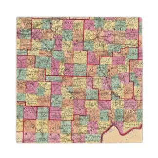 Ohio Counties Maple Wood Coaster