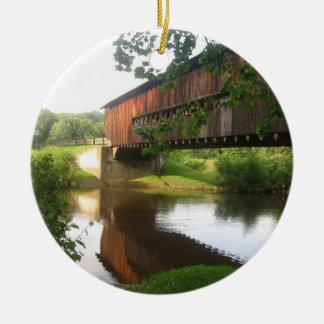 Ohio Covered Bridge and Stream Ceramic Ornament