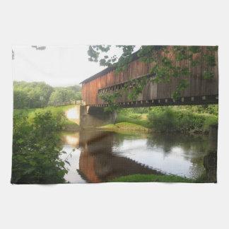 Ohio Covered Bridge and Stream Hand Towel