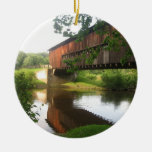 Ohio Covered Bridge and Stream Double-Sided Ceramic Round Christmas Ornament