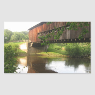 Ohio Covered Bridge and Stream Rectangular Sticker