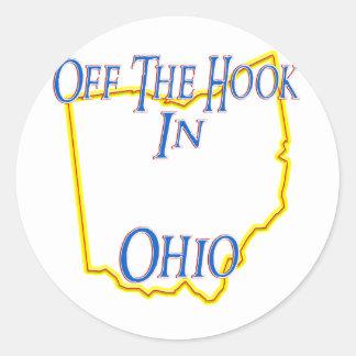Ohio - del gancho pegatina redonda
