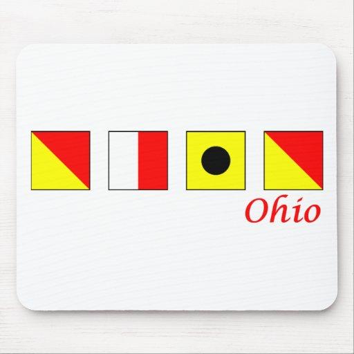 Ohio deletreó en alfabeto náutico de la bandera tapetes de raton