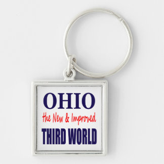 Ohio el TERCER MUNDO nuevo y mejorado Llavero Cuadrado Plateado