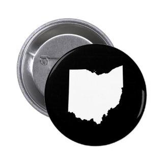 Ohio en blanco y negro pin redondo de 2 pulgadas