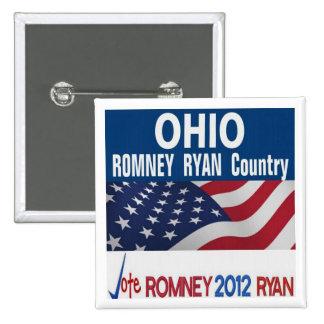 Ohio es botón del país de Romney Ryan Pin Cuadrado
